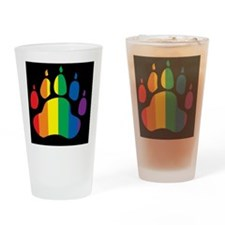 rainbow paw BLACK Drinking Glass