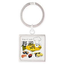 KINGSushi.HAT.CARD.Tshirt Square Keychain