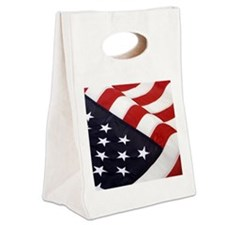 AmericanFLAG Patriotic Note Card Canvas Lunch Tote