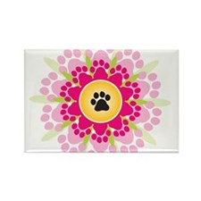 Paw Prints Flower Rectangle Magnet