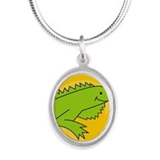 IguanaEC Silver Oval Necklace