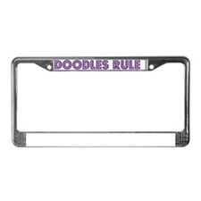 Doodles Rule Purple License Plate Frame