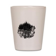 Wolves Night Moon Shot Glass