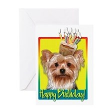 BirthdayCupcakeYorkieHB Greeting Card