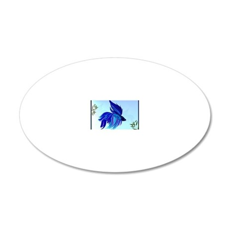 Big Blue Siamese Fighting Fi 20x12 Oval Wall Decal