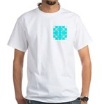 Cyan Owls Design White T-Shirt