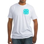 Cyan Owls Design Fitted T-Shirt