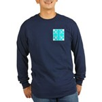 Cyan Owls Design Long Sleeve Dark T-Shirt