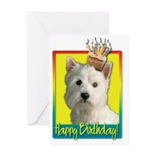 BirthdayCupcakeWestieHB Greeting Card