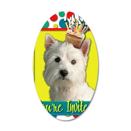 InviteCupcakeWestie 35x21 Oval Wall Decal