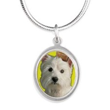 BirthdayCupcakeWestie Silver Oval Necklace