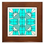 Cyan Owls Design Framed Tile