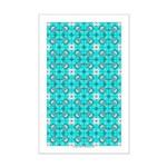 Cyan Owls Design Mini Poster Print