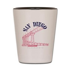 SanDiego_10x10_CoronadoBridge_BlueRed Shot Glass