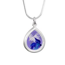 ornament_ovalBlue n Whit Silver Teardrop Necklace