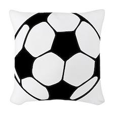 soccer football black white Woven Throw Pillow