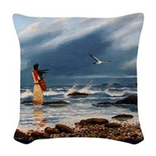 beachcomber-poster Woven Throw Pillow