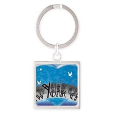 I Heart NYC Blue Square Keychain