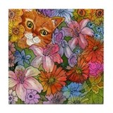 Cat Among the Flowers Tile Coaster