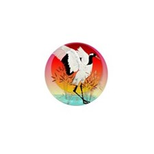 Red Crowned Crane and Setting Sun_mpad Mini Button