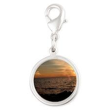 brilliant sunset Silver Round Charm