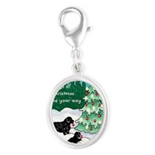 Newfies decorating the tree car Silver Oval Charm