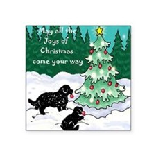 "Newfies decorating the tree Square Sticker 3"" x 3"""