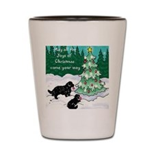 Newfies decorating the tree card Shot Glass