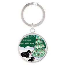 Newfies decorating the tree card Round Keychain