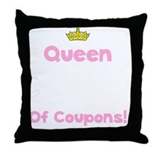 Coupon Queen White Throw Pillow