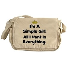 Simple Girl Black Messenger Bag