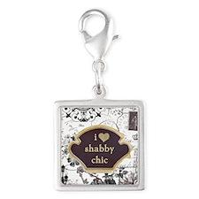 I Heart Shabby Chic Tote Bag Silver Square Charm