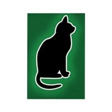 Cat Emergency Sticker Green Rectangle Magnet