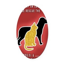Cat  Dog Emergency Sticker Red Oval Car Magnet