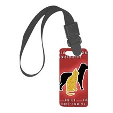 Cat  Dog Emergency Sticker Red Luggage Tag