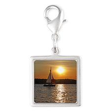 sunsetsailboatnessenger Silver Square Charm