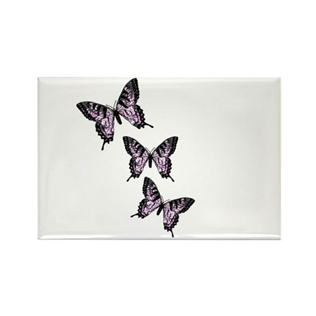 Three Purple Butterflies Rectangle Magnet (100 pac
