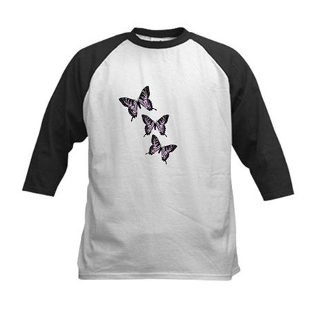 Three Purple Butterflies Kids Baseball Jersey