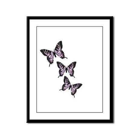 Three Purple Butterflies Framed Panel Print