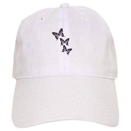 Three Purple Butterflies Cap