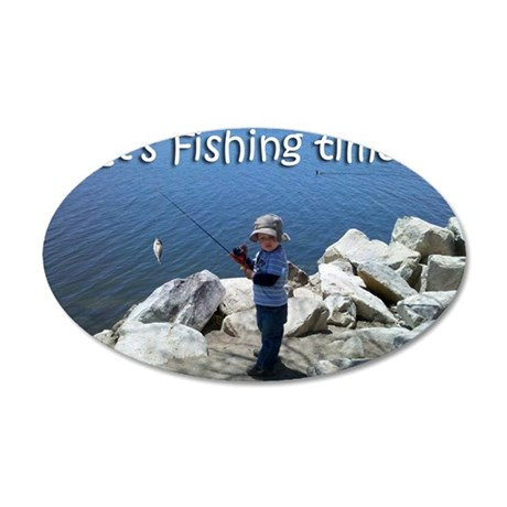 fishiing-time 35x21 Oval Wall Decal