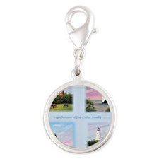 Lighthouses Outer Banks tall Silver Round Charm