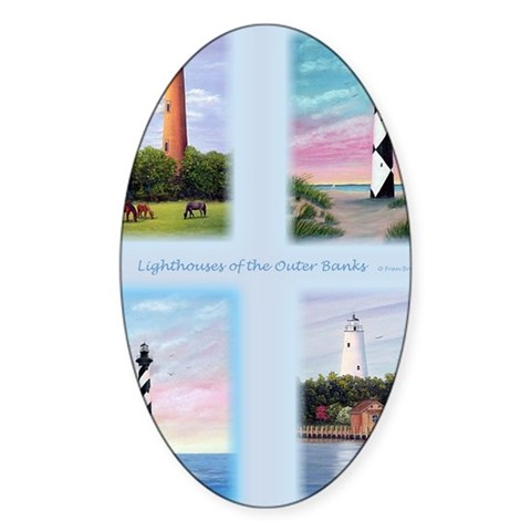 Lighthouses Outer Banks tall Decal