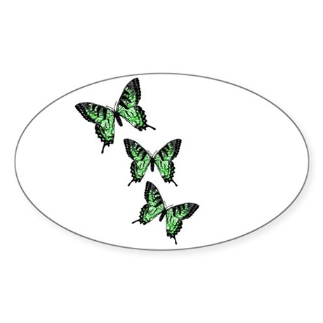 Three Green Butterflies Oval Sticker