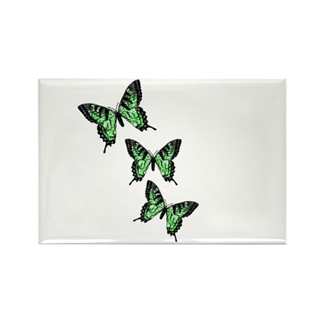 Three Green Butterflies Rectangle Magnet