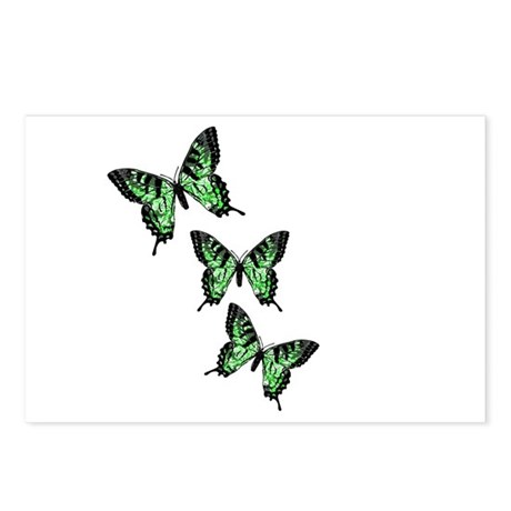 Three Green Butterflies Postcards (Package of 8)