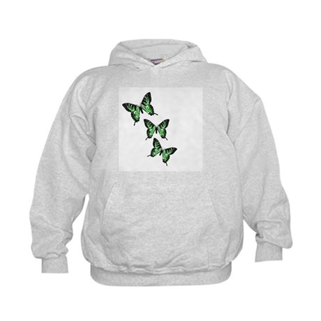 Three Green Butterflies Kids Hoodie
