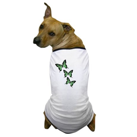Three Green Butterflies Dog T-Shirt