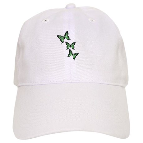 Three Green Butterflies Cap