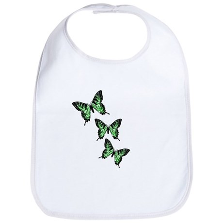 Three Green Butterflies Bib